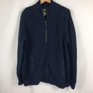 L.L.Bean Full Zip Cotton Sweater Size L/Tall